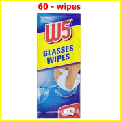 60 CLEANING WIPES W5 Suitable to Clean glasses, cameras, binoculars, car mirrors, helmet visors, computer screens, televisions, mobile phones iphone Android