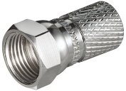 Manax F-Connector Cu Nickel-Plated for Cables with an Outer Diameter of 7.3 Length Approx. 20 mm Set of 10