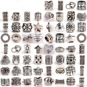 RUBYCA Tibetan Silver Tone Colour Spacer Loose Beads Fit European Charm Bracelet Mix 120 Pcs Lot For DIY