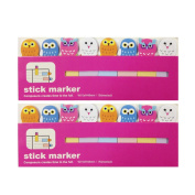 Wrapables Bookmark Flag Tab Sticky Markers, Owls, Set of 2