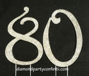 Large Rhinestone Crystal Covered 80 80th Birthday Anniversary Number Cake Topper