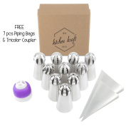 17 pcs Sphere Ball Russian Piping Tips Set - 10 Icing Tips (XXL Size) + FREE 7 Piping Bags (Made in USA) + Tricolour Coupler | The MOST COMPLETE Frosting Nozzle Set | Pastry Cake Fondant Cupcake