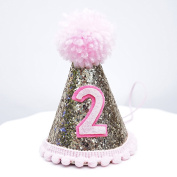 Mini Pale Gold Glitter Cake Smash Birthday Party Cone Hat w/ Pom Pom Top - Baby to Toddler Size