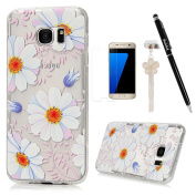 S7 Edge Case,Samsung Galaxy S7 Edge Case - Badalink Soft TPU Rubber Skin Gel Bumper Ultra-thin Slim Fit Print Cover with High Definition Screen Protector & Dust Plug & Stylus Pen - Daisy Flowers