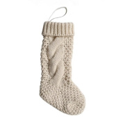 Pack 4, Unique Burgundy and Ivory White Knit Christmas Stockings 36cm