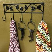 Adorox Metal 5 Hook Butterfly Flower Key Rack Wall Mounted Coat Scarf Accessory Holder (Black
