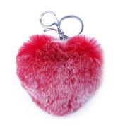 Key Ring Franterd Cute Rabbit Fur Heart Key Chain for Car or Bags