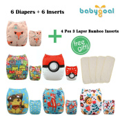 Babygoal Baby Adjustable Reuseable Positioning Pocket Cloth Nappy Nappy 6pcs+ 6 Inserts 6YDG09