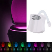 YIERTOWN Motion Activated Sensor Toilet Night Light With 8 Colours Stick