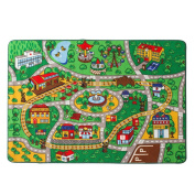 """Children Rug Learning Carpets Play Carpet Machine-washable Non-slip Area Rug 100133cm(40""""x52"""")(Green Playground)"""