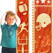Growth Chart Art | Wooden Height Chart | Sports Growth Chart for Boys | Sports Themed Nursery Decor | Football Maple