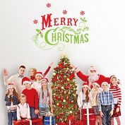 Dnven (60cm w X 48cm h) Merry Christmas Quotes Lettering Vinyl Words Graphic Wall Stickers Wall Decals Door Window Stickers Glass Decals for Kids Rooms Nursery Living Rooms Bedrooms