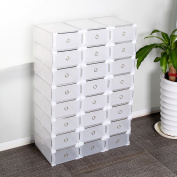 AllRight 24 x Clear Shoe Boxes Plastic Foldable Stackable Shoe Drawer