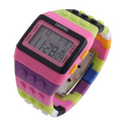 Unisex Retro Colourful Block Brick Style Multi Function Digital Sports Watches H