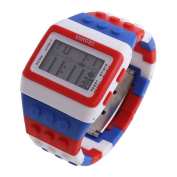 Unisex Retro Colourful Block Brick Style Multi Function Digital Sports Watches L