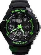 Mandy Multi Function Military S-Shock Sports Watch LED Analogue Digital Waterproof Alarm Green