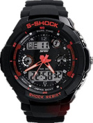 Mandy Multi Function Military S-Shock Sports Watch LED Analogue Digital Waterproof Alarm Red