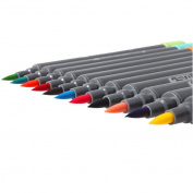 Watercolour Brush Pens Set,SAYEEC 12 Colours Dual Tip Brush Pens with Fineliner Tip Art Marker Soft Flexible Tip Durable Create Watercolour Effect - Best for Adult colouring Books/Manga/Comic/Calligraphy