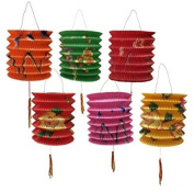 DMtse 12CM DIAMETER PACK OF 12 MIX COLOUR CHINESE NEW YEAR PAPER LANTERNS