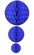 Dark Blue Honeycomb Balls, Set of 3
