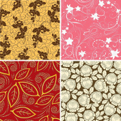 FOUR 30cm x 30cm Blinggasm Vinyl Sheets Set, Flowers Pattern Outdoor Vinyl 044