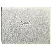 GUEST BOOK in Elegant Calfskin WHITE GOLD Leather for a lasting record by Graphic Image -