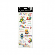 JT Scrapbooking Craft Activity Birthday Glitter Rub-On Transfers - 24 Pack