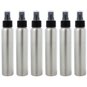AKOAK 6 Pcs 120ml/4 Oz Aluminium Fine Mist Spray Bottles with Black Pump Spray Cap,Great for Cleaning, Travel, Perfume