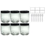 Clear PET Plastic (BPA Free) Refillable Jar - 560ml (6 pack) + Spatulas and Labels