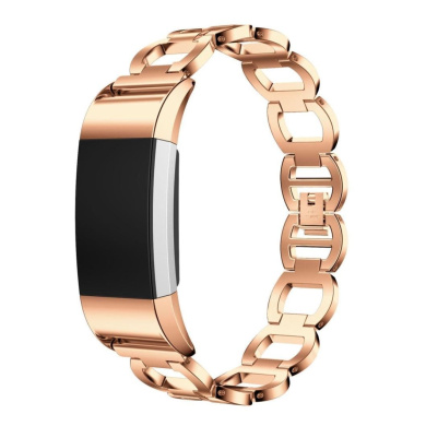 AutumnFall Genuine Stainless Steel Bracelet Smart Watch Band Strap for Fitbit Charge 2 (Rose Gold)