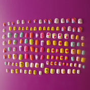 128PCs Different Nails 28 Sizes Exclusive Nails Collections Smiling face Candy Cute Carton Pre-glue False Nail Tips for Little Girls