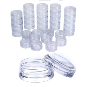 Born Pretty 50 PCS 3G (3 Gramme or 3 ML)Nail Art Round CLEAR Screw Cap Lid with Clear Base empty Plastic Container Jars for Cosmetic Cream Pot Makeup Eye Shadow Nails Powder Jewellery