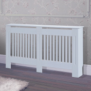 HOMCOM Radiator Cover Painted Slatted Cabinet MDF Lined Grill White 152L x 19W x 81H
