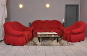 Luxury Armchair and Sofa Slip Covers, 50% cotton, 50% polyester, wine red, Sessel/1-Sitzer