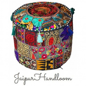 JaipurHandloom Black Indian Pouffe Stool Vintage Patchwork Embellished With Patchwork Living Room Ottoman Cover, 46 X 33 Cm or 18X13 inches
