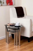 Corona Black Glass Chrome Plated Nest Of 3 Coffee Table Set occasional tables