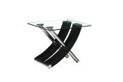 MODERNIQUE® Stunning Italian Design side end table in Black with Clear Glass Top Unique design solid made.