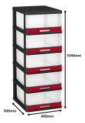 Allibert 228557 Hercule Storage Tower with 5 Drawers - 50 x 40 x 104 cm black/red, L