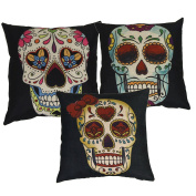 "Luxbon Set of 3 Pcs Day of the Dead Mexico Fiesta Kitsch Candy Skull Cushion Cover Black Durable Cotton Linen Throw Pillow Case Home Decor for Halloween 18""X18"" 45x45cm"