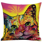 OverDose Home Decoration Cat Dyeing Pillow Case Cushion Cover