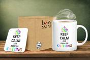 Keep Calm And Carry On Knitting Mug And Matching Coaster Set