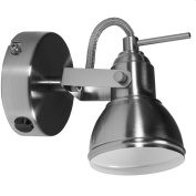 Retro /Industrial Design Satin Chrome Single 1 way Wall Spot Light with Switch