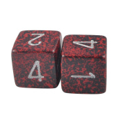 Pack of 2 - 6 Sided Numeral Dice Red Volcano & Silver in Snow Organza Bag