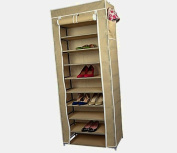 Smart-Home 10 Tiers Shoe Rack with Dustproof Cover Closet Shoe Storage Cabinet Organiser [Beige, 160cm x 60cm x 30cm (LxWxD)]