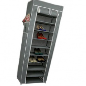 Smart-Home 10 Tiers Shoe Rack with Dustproof Cover Closet Shoe Storage Cabinet Organiser [Grey, 160cm x 60cm x 30cm (LxWxD)]
