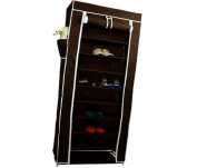 Smart-Home 10 Tiers Shoe Rack with Dustproof Cover Closet Shoe Storage Cabinet Organiser [Brown, 160cm x 60cm x 30cm (LxWxD)]