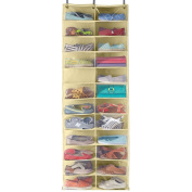 Over Door Shoe organiser 13 double pockets for 26 shoes, beige 50cm in width 160cm height, with plastic front to see your shoes