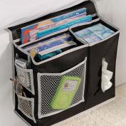 Generic Homewares Bedside Storage Mattress Book Remote Caddy 6 Pocket Black