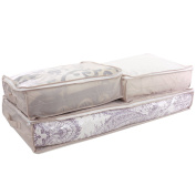 SET OF 3 Storage Bags Under the Bed for Linens Blankets and Towels in Beige