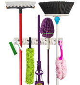 Premium Orangizer Mop and Broom Holder Wall Mounted Garden Tool Storage Tool Rack Storage & Organisation Home Plastic Hanger Closet Garage Organiser Shed Basement Storage Must Have